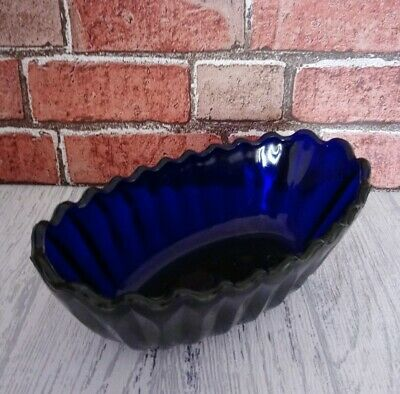 Colbalt Blue Glass Bowl Jelly Mould Dish.. Thick Blue Glass  • 15£