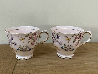 Tuscan Pink Hand Painted Floral Vintage Bone China Tea Cups Only X 2 • 3.99£