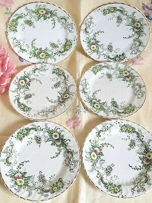 Six Victorian Bone China Side Plates Rose Campion 1895 Green Floral Tea Party • 1.04£