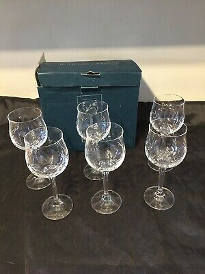 2002 Vintage 6 Wine Goblet Glasses Bohemia Crystal Cut Glass 3 Chipped  • 3.99£