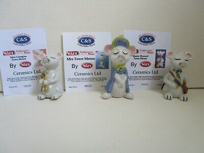 Wade Set Of 3 Town Mouse Figures Limited Edition With Certificates • 24£
