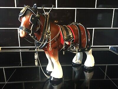 Melba Ware England Large Ceramic Shire Horse Figurine With Bridle & Brasses • 21.60£