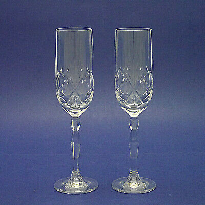 Two Tall Crystal Champagne Flutes/Glasses - 23cm/9  High • 5.99£