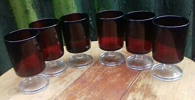 6 Vintage French Luminarc Ruby Red Glasses C1960 • 14.99£