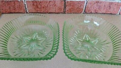 Green Glass Square Bowls / Dishes - Pair Vintage Dishes  • 18£