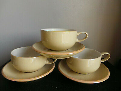Large Denby Tea/coffee Cups & Saucers X3 • 17.99£