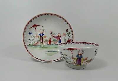 New Hall Tea Bowl And Saucer, Pattern 20, C. 1790. • 2.86£