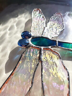 Blue Green Dragonfly Stained Glass Suncatcher Window Wall Hanging Wildlife Gift • 24.95£