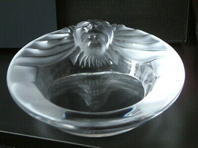 Lalique Crystal  Tete De Lion  Frosted Glass Ashtray • 21£
