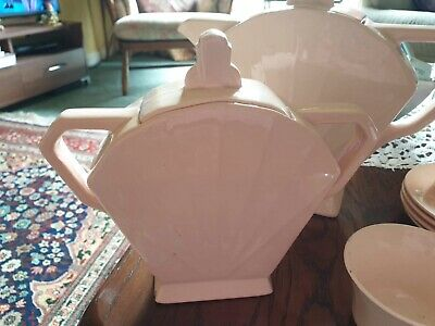 Art Deco Pink French Sarreguemines French Teaset • 80£