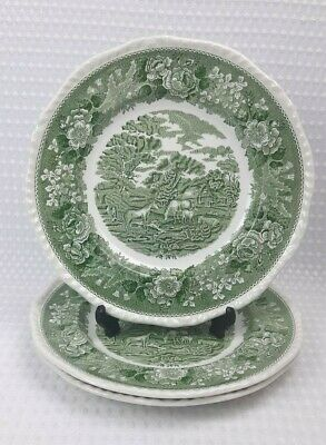 Adams English Scenic Green 3x 26cm Dinner Plates - Floral Vintage • 15£