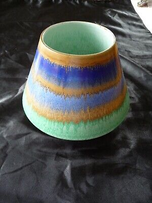 Shelley Cooling Tower Vase 5 Inches High Blue, Brown Green Drip • 59.95£
