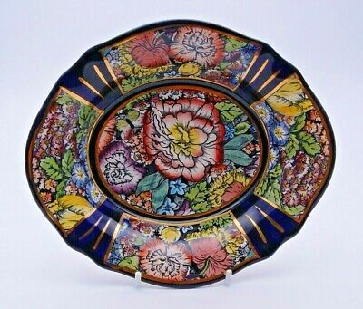 Small Colourful Gilded Masons Bowl In Decoupage - Perfect • 14.99£