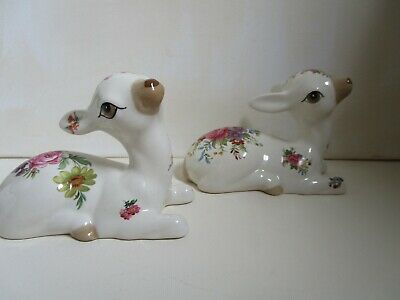 Szeiler Pair Of Large Floral Fawns - 4.5 Inches Long • 14£
