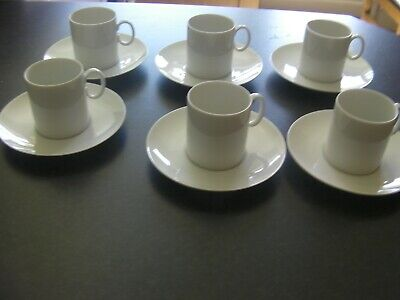 6 X Thomas Germany, White Coffee Cups & Saucers, *MINT CONDITION* 1980`s • 25£