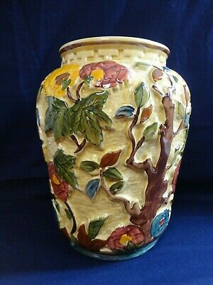 Large Handpainted H J Wood Indian Tree Vase, Staffordshire England Pottery 573 • 14.99£