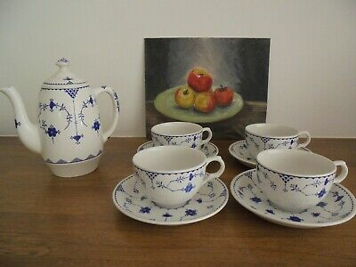 Masons 'blue Denmark' - Four Tea Cups & Saucers - Very Good Condition • 4.99£