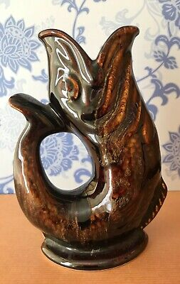 Fosters Studio Pottery Trickled Treacle Brown Glaze Fish Gurgle Jug • 4.50£