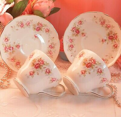 Duchess June Bouquet Vintage China Tea Cups & Saucers Pink Roses Wedding Party • 7.99£