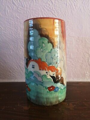 Clarice Cliff Art Deco Pottery Spill Vase Forest Glen   Damaged  • 36£
