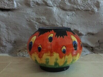 CROWN DUCAL Spherical FIREFLY Vase - ART DECO - 4 1/4 INCHES TALL • 59£