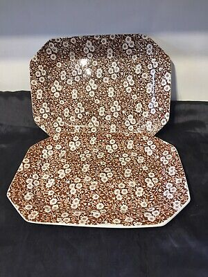 2 X Vintage Pretty Brown Chintzware Chintz Platters By Crownford China Calico  • 14.99£