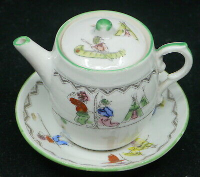 OLD CHILD'S PORCELAIN TEA, COFFEE POT W HAND PAINTED AMERICAN INDIAN • 5.54£