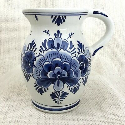 Vintage Delft Pottery Jug Hand Painted Blue And White Flowers Holland Dutch  • 28£
