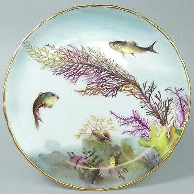 Antique George Jones Crescent China Porcelain Hand Painted Fish Plate C.1880 • 46£