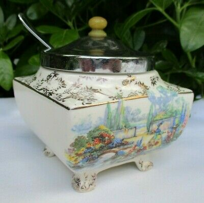 Antique Lancasters English Ware Country Garden Scene Lidded Sugar Bowl & Spoon • 18£