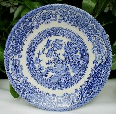 Vintage Matching Set X 6 Old Willow Pattern English Ironstone Pottery Saucers • 18£