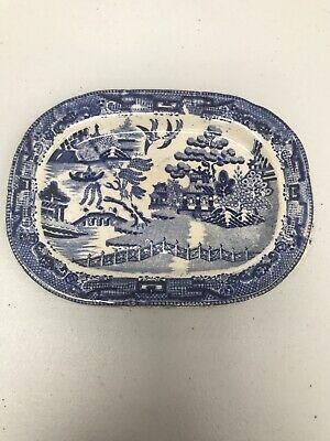 Antique Pearlware - Willow Pattern Blue/White - Small Rectangular Plate 1800 • 17.49£