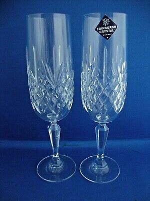 2 X Edinburgh Crystal Kenmore Champagne Flutes 7 1/2 Inch Tall - Signed  • 24.95£