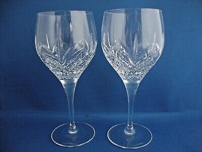 2 X Royal Doulton Crystal Ascot Cut Pattern Wine Glasses - Signed • 29.95£