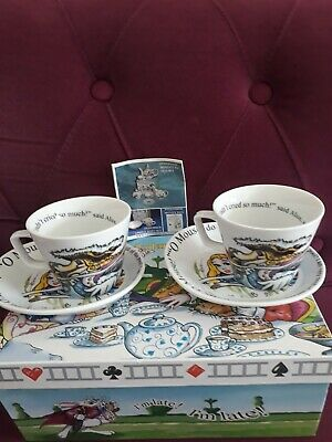 Paul Cardew Alice In Wonderland Boxed Pair Of Cups And Saucers - Perfect • 29.99£