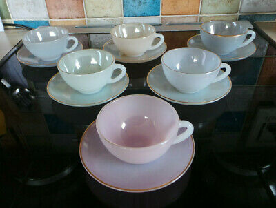 Retro French Arcoroc Harlequin Opalescent Pastel Cups & Saucers X6 • 29.99£