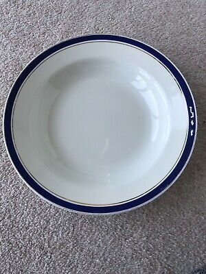 """Vintage Soup Bowl - 9"""" Approx Diameter - White With Blue And Gold Rim  • 0.01£"""