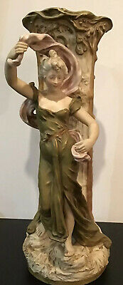 Tall, Early 1900's Royal Dux, Porcelain Vase With Sculptured Female Figure 52cm • 295£