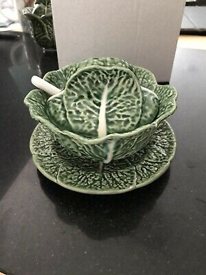 Green Cabbage Portugese Pottery Condiment Bowl With Saucer  • 6£