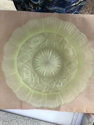 Art Deco 1915 To 1935 Pastel Green Frosted Fruit Bowl With Roses • 9.99£