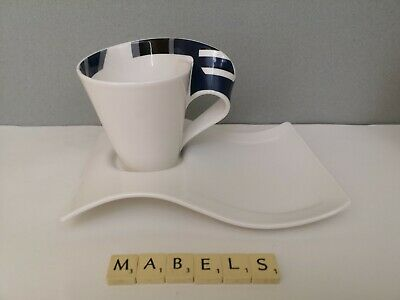 VILLEROY & BOCH  ~NEW WAVE - BLUE HANDLE~ Coffee Mug & Under Plate • 19.99£