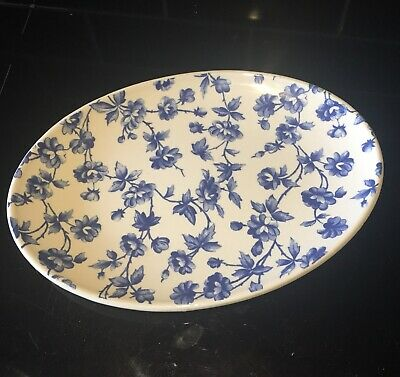 Laura Ashley Briar Rose Blue Floral Oval Dish 1989 Collectable • 10£