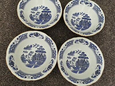 Duchess Bone China Willow 4 Cereal / Dessert Bowls • 12£