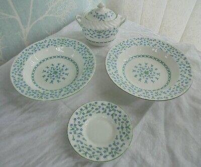 Job Lot Aynsley China Forget Me Not Soup Bowls. Lidded Sugar Bowl, Coffee Saucer • 3.70£