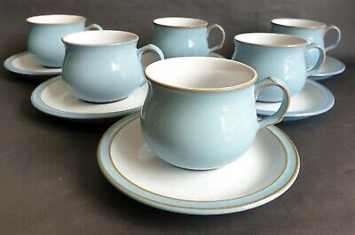 Vintage Denby 'Colonial Blue' Cups & Saucers X 6, Designed In 1988 • 16.99£