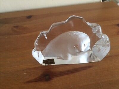 Mats Jonasson Baby Seal Lead Crystal Paperweight - Signature Collection • 4£