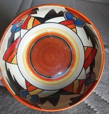 Clarice Cliff RARE  Lightning  Pattern 3 Footed Bowl. Good Condition...STUNNING! • 197£