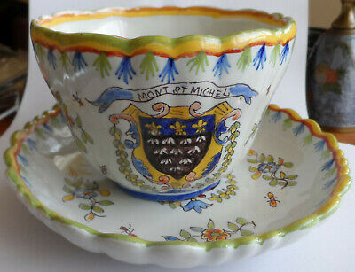Antique French Faience Cup And Saucer, Mont St. Michel • 9.99£