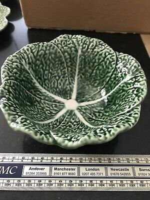 Green Cabbage Leaf Bowl. 15cm Diameter. Portugese Pottery • 3£