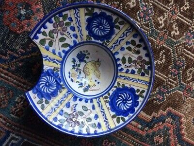 Antique 19th Century French Faience/pottery Hand Painted Barbers Shaving Bowl • 19.99£